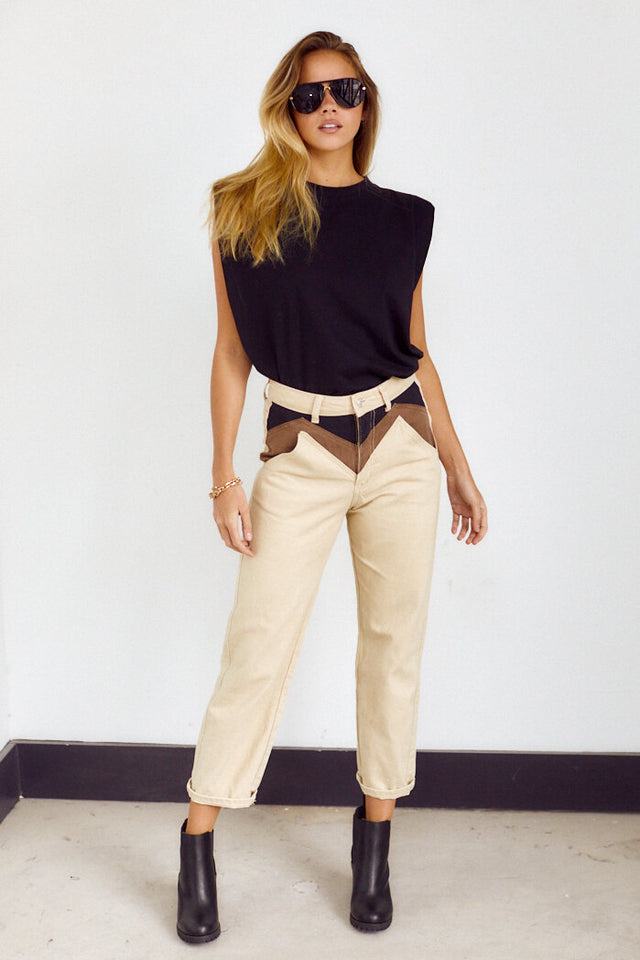 Frances Colorblock Twill Straight Leg Pant