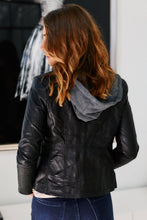 Load image into Gallery viewer, Monte Faux Leather Jacket With Hood