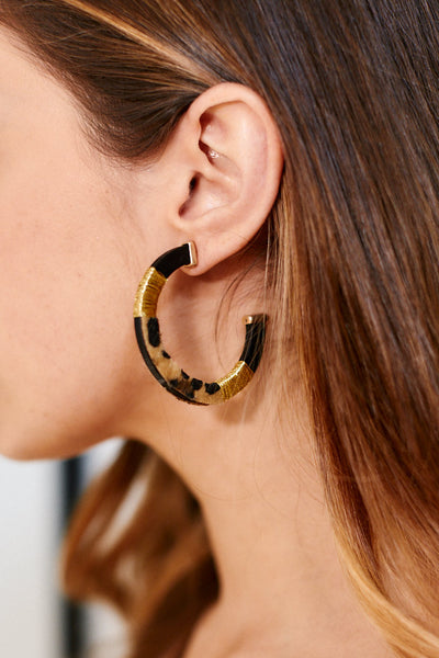 fab'rik - Karen Animal Print Open Hoops image thumbnail