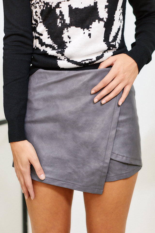 Hadley Faux Leather Skort