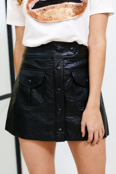 fab'rik - Blank NYC Button Down Faux Leather Skirt image thumbnail