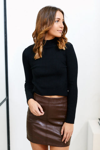 Ava Ribbed Cropped Sweater