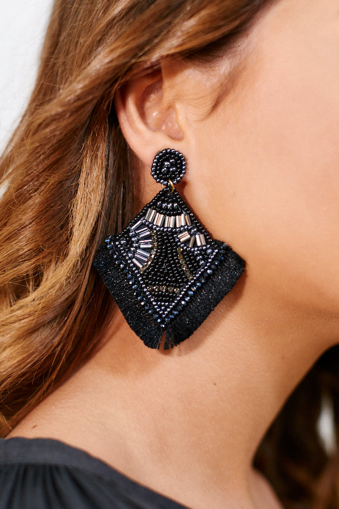 Beaded Rhombus Tassel Earrings - Black