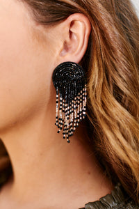 Tilly Beaded Arch Earrings - Black