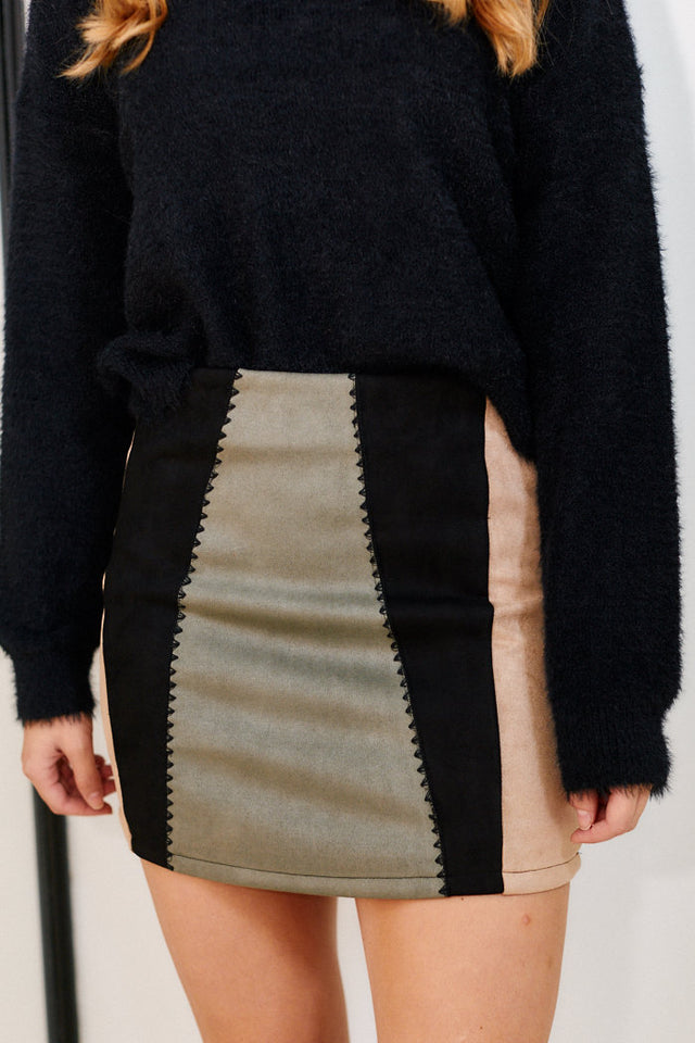 Reno Color Block Mini Skirt