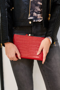 Lipstick Closure Croc Clutch