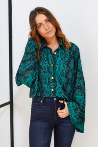 Langley Snake Print Bell Sleeve Top