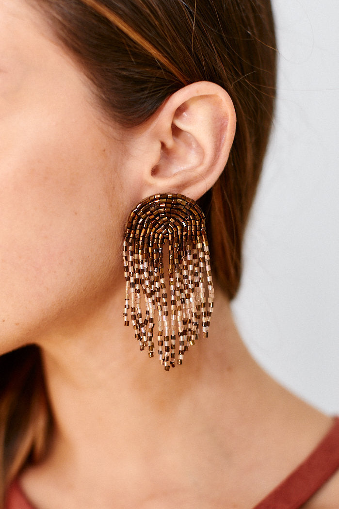 fab'rik - Tilly Beaded Arch Tassel Earrings - Bronze ProductImage-11488044351546