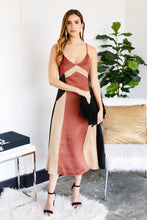 Load image into Gallery viewer, Calais Color Block Satin Midi Dress