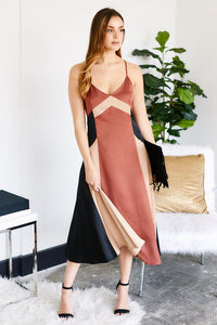 Calais Color Block Satin Midi Dress