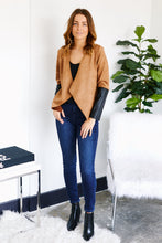Load image into Gallery viewer, Liana Drape Front Faux Suede Color Block Jacket
