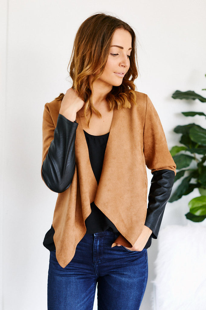 Liana Drape Front Faux Suede Color Block Jacket