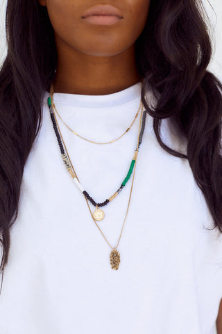 Washington Bead & Coin Layered Necklace