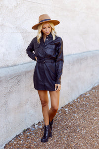 Vanya Faux Leather Shirt Dress