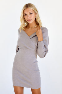 Olisa Faux Wrap Sweater Dress
