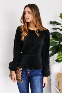 Ridley Pleated Peplum Blouse