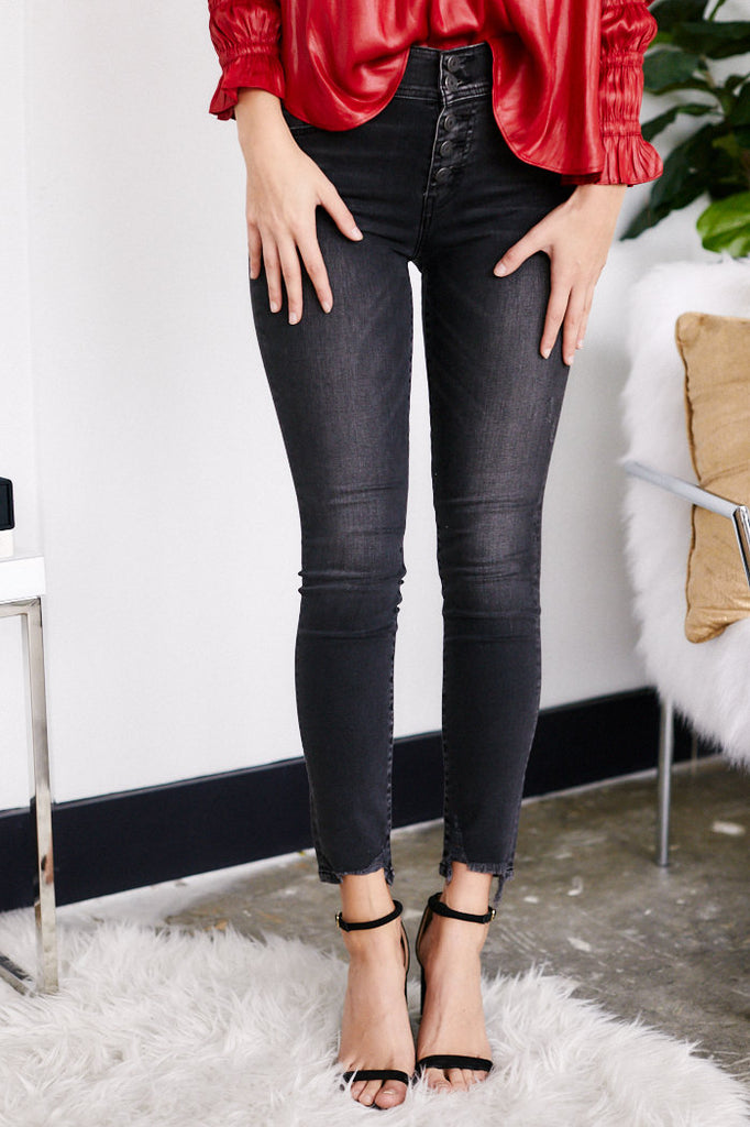 Keely High Rise Button Fly Skinny Jeans