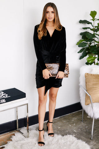 PreOrder Georgia Wrap Front Velvet Dress