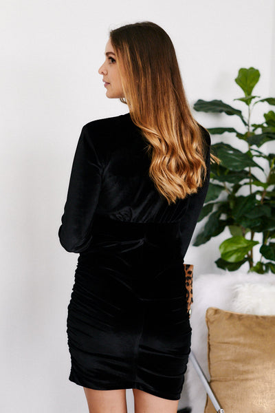 fab'rik - Georgia Wrap Front Velvet Dress image thumbnail