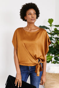 Clemente Satin Side Tie Top