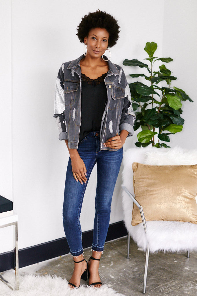 Teddi Denim Jacket with Sequin Details