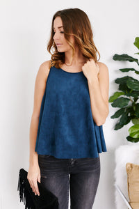 Celie Sleeveless Faux Suede Swing Top