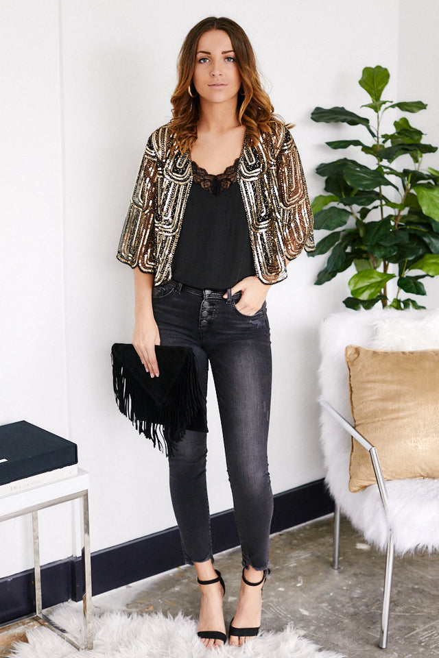 Lucille Sequin Crop Cardigan