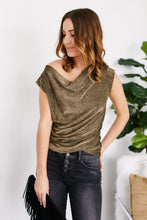 Load image into Gallery viewer, Alister Cowl Neck Metallic Top