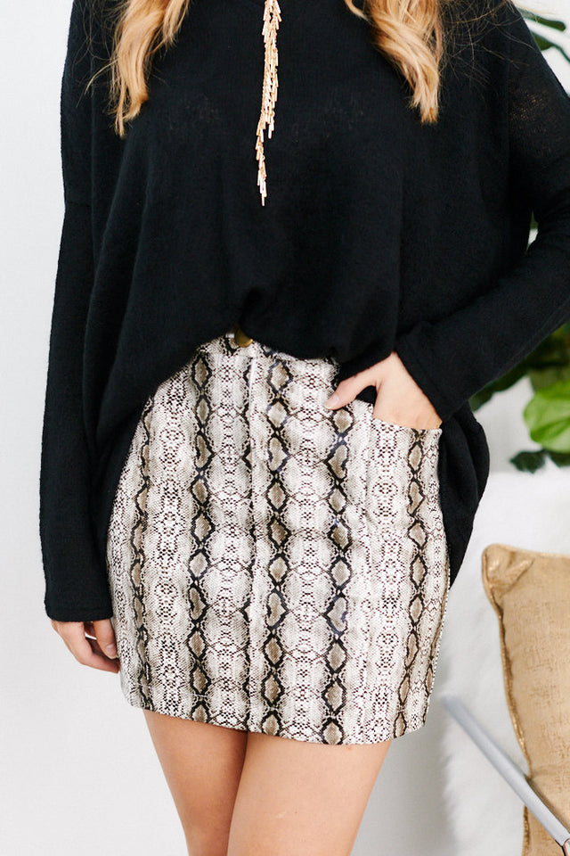 Alma Snake Print Mini Skirt