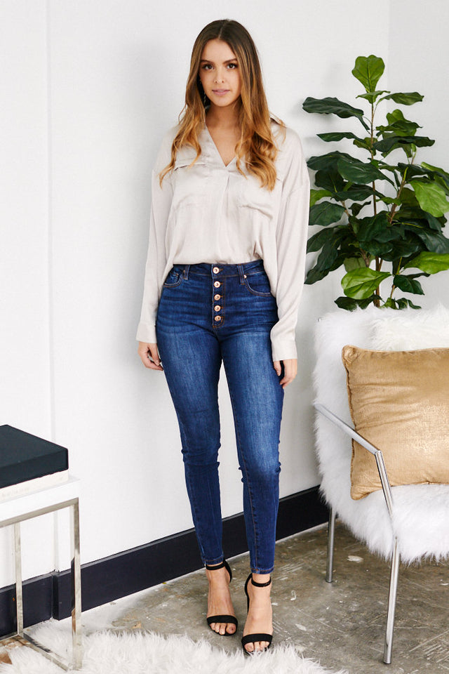 Charlene Mid Rise Button Fly Skinny Jeans