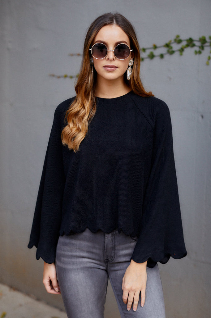 Bella Bell Sleeve Scallop Hem Sweater