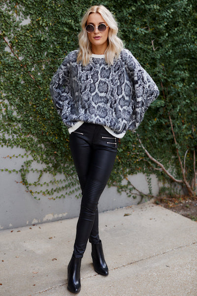 fab'rik - PreOrder Stormy Snake Print Fuzzy Sweater image thumbnail