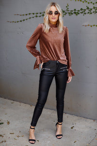 Jamie High Neck Velvet Blouse