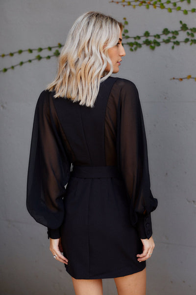 fab'rik - Collins Sheer Sleeve Belted Dress image thumbnail