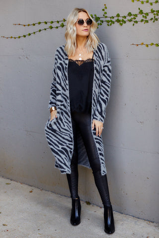 Whit Animal Print Fuzzy Cardigan
