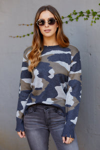 Lille Camo Fringe Sweater