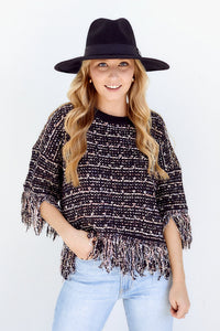 PreOrder Salette Fringe Tweed Top