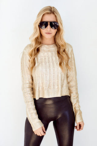 Tessa Metallic Cable Knit Sweater