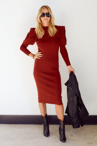 Asha Puff Sleeve Knit Midi Dress