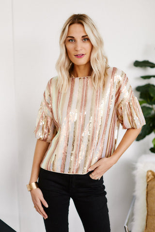 Margeaux Sequin Puff Sleeve Blouse