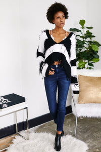 Stripe Ripped Cropped Sweater