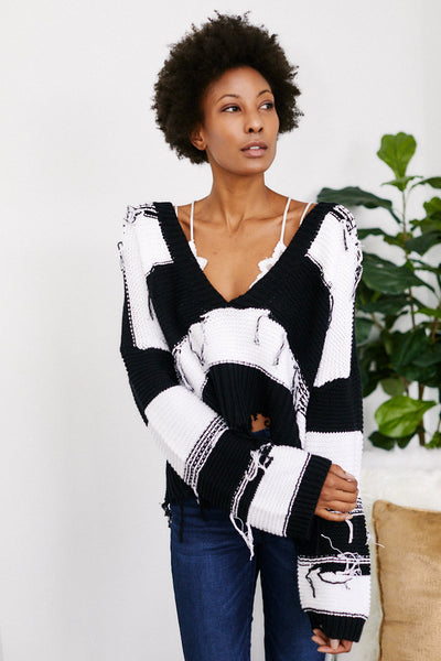 fab'rik - Stripe Ripped Cropped Sweater image thumbnail