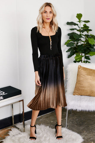 Miley Pleated Velvet Ombre Midi Skirt