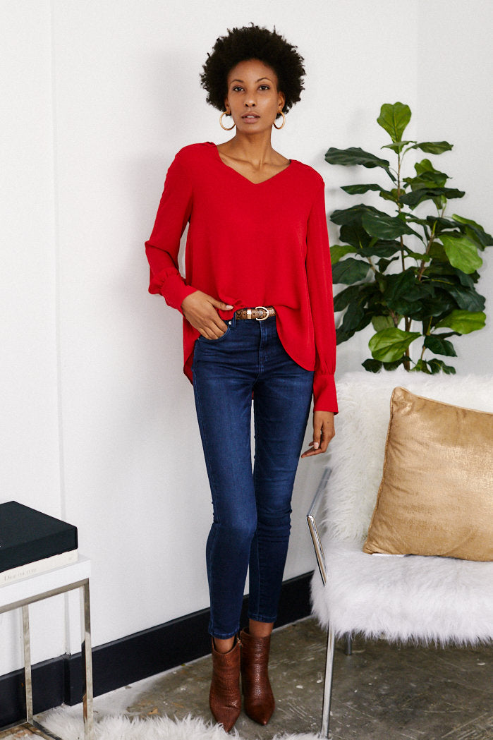 fab'rik - Kat Bell Sleeve V Neck Blouse ProductImage-13289400696890