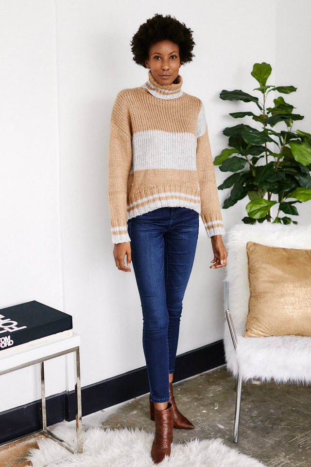 Jeni Colorblock Turtle Neck sweater