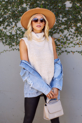 Lulie Sleeveless Turtleneck Sweater