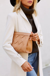 PreOrder Cally Faux Leather Woven Clutch