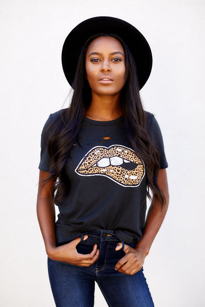 fab'rik - Leopard Lips Graphic Tee image thumbnail