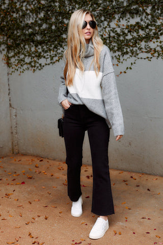 Ally Colorblock Turtleneck Sweater