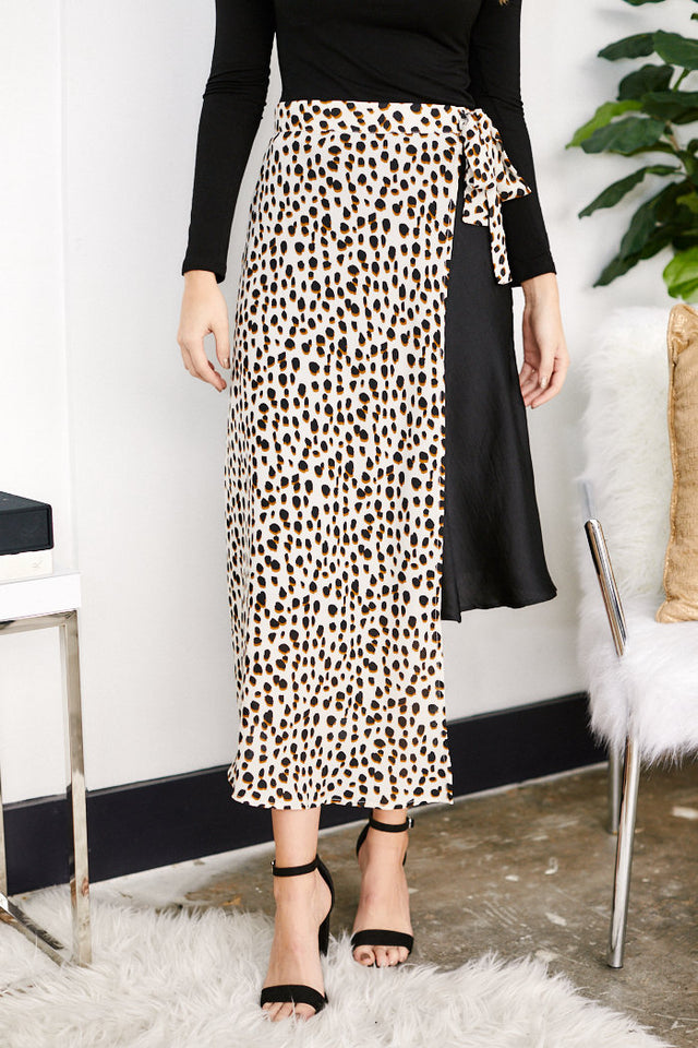 Calla Animal Print Wrap Skirt